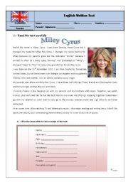English Worksheet: test 7th grade miley/hobbies