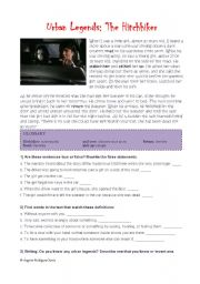 English Worksheets: Urban Legends: The Hitchhiker