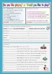 English Worksheet: Do you like PLAYING or Would you like TO PLAY?