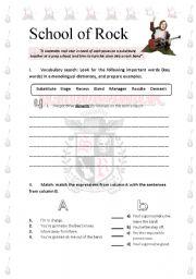 English teaching worksheets: School of Rock