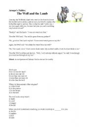 English Worksheets: The Wolf and the Lamb