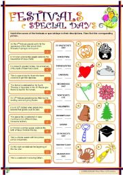 English Worksheets: Festivals & special days