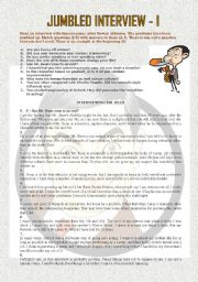 English Worksheets: Interview with Rowan Atkinson