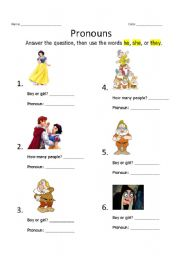 worksheet: Pronouns: he, she, they