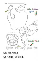 English Worksheets: A is for apple