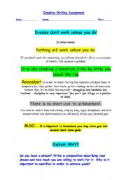 English Worksheet: Creative Writing - Dreams don´t work unless you do