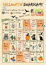 English Worksheets: Halloween Boardgame