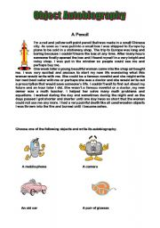 English Worksheet: Object Autobiography