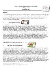 English Worksheets: WRITING (IRRELEVANT SENTENCE) WORKSHEET