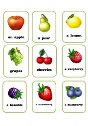 English Worksheet: fruit flashcards 1/2
