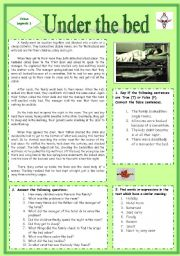 English Worksheets: Urban Legend. Under the bed (Source of the text: http://www.scaryforkids.com)