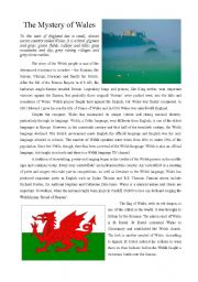 English Worksheet: The Mystery of Wales - reading comprehension