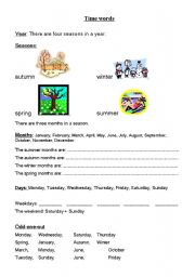 English Worksheet: Seasons, months, days - time words