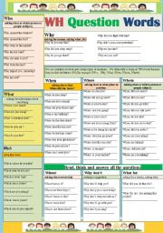 English Worksheets: WH Question words.