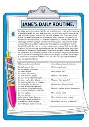 English Worksheets: JANE�S DAILY ROUTINE. READING COMPREHENSION.