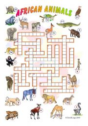 English Worksheet: African Animals Crossword (reuploaded) and  Phonic Fun First Stories: A Trip Across Africa