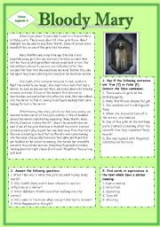 English Worksheets: Urban Legend. Bloody Mary. (Source of the text: http://www.scaryforkids.com)
