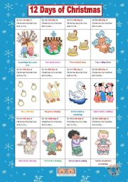 english teaching worksheets 12 days of christmas. Black Bedroom Furniture Sets. Home Design Ideas