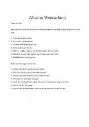 English worksheet: Alice in Wonderland