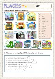 English Worksheet: Place name & Giving direction