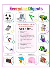 English worksheets everyday objects - New uses common items ...