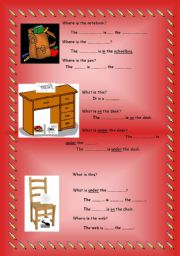 English Worksheet: simple prepositions, classroom objects and bugs revision