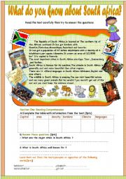 English Worksheet: What do you know about South africa?