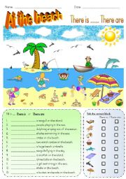 English Worksheet: At the beach - There is.... There are