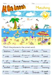 English Worksheet: At the beach - Matching ws
