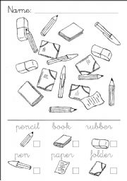 worksheet: School Object Words