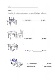 English Worksheets: On, next to, under, behind and in front of.