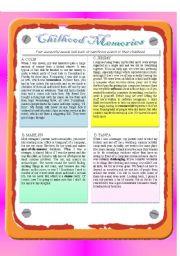 English Worksheets: Reading - Childhood Memories