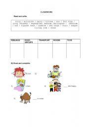 English Worksheets: CLASSWORK