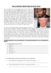English Worksheet: Hollywood Directors in Race Row