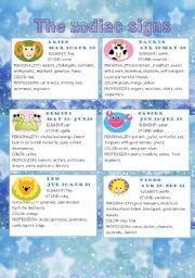 English Worksheet: The zodiac signs