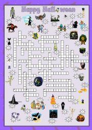 English Worksheets: Halloween 2010 set 4 - Crossword + key
