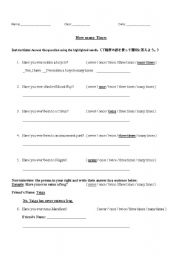 English Worksheet: Have you ever worksheet using... never, once, twice, three times, many times