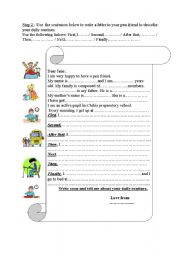 English Worksheets: Guided writing about daily routines