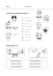 English Worksheet: animals and happy house characters
