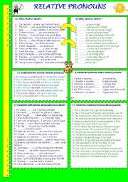 English Worksheet: RELATIVE PRONOUNS
