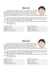English Worksheet: This is Ted - A Short Story
