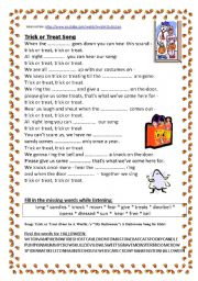 English Worksheets: SONG: Trick or treat