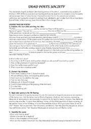 DEAD POETS SOCIETY worksheet - Free ESL printable worksheets made ...