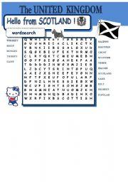 UNITED KINGDOM - Hello Scotland - wordsearch