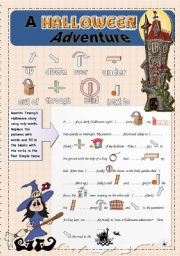 English Worksheet: A Halloween Adventure - Prepositions - Past Simple Tense - Guided Narrative Composition