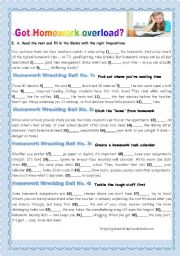 English Worksheet: STUDY SKILLS TIPS- GOT HOMEWORK OVERLOAD?