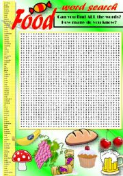 English Exercises > food exercises > Food Word Search