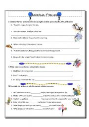 English Worksheets: Relative Clauses - who, that, which