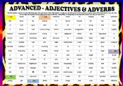 English Worksheet: Adjectives & Adverbs - ADVANCED