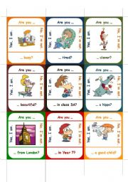 English Worksheet: Are you ... ?     GO FISH-GAME